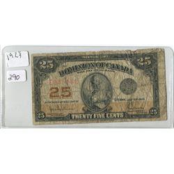 1923 25 CENT SHINPLASTER