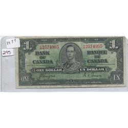 1937 BANK OF CANADA ONE DOLLAR BILL