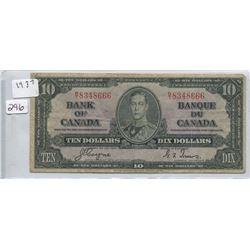 1937 BANK OF CANADA TEN DOLLAR BILL