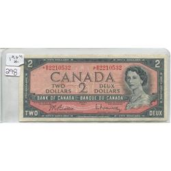 1954 BANK OF CANADA TWO DOLLAR BILL (ASTERIX)