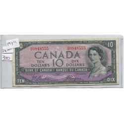 1954 BANK OF CANADA TEN DOLLAR BILL (DEVILS FACE)