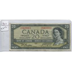 1954 BANK OF CANADA TWENTY DOLLAR BILL (DEVILS FACE)