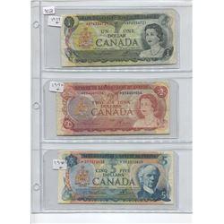 1972 5 DOLLAR BILL, 1974 2 DOLLAR BILL, 1973 1 DOLLAR BILL