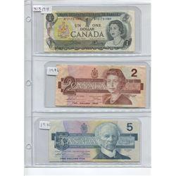 1973 1 DOLLAR BILL, 1986 2 DOLLAT BILL, 1986 5 DOLLAR BILL