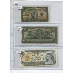 1923 25 CENT SHINPLASTER, 1937 1 DOLLAR BILL, 1973 1 DOLLAR BILL