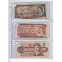 1954, 1974, 1986 TWO DOLLAR BILLS