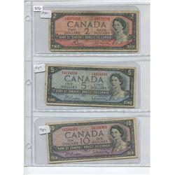 1954 TWO, FIVE, TEN DOLLAR BILLS
