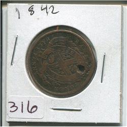 1842 PROVINCE OF CANADA HALF PENNY TOKEN