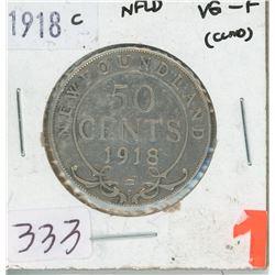 1918 NEWFOUNDLAND 50 CENTS