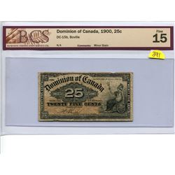 Canada 25 cent 1900 Dominion of Canada 25c Shinplaster DC-15b Boville BCS 15 Fine Minor Stain
