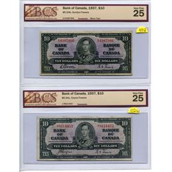 Lot of 2 Canada 10 Dollar 1937 Bank of Canada $10 BC-24b and BC-24c BCS 25 Very Fine