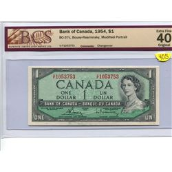 Canada 1 Dollar Bank of Canada 1954 $1 BC-37c Bouey Rasminsky Modified Portrait BCS 40 Extra Fine