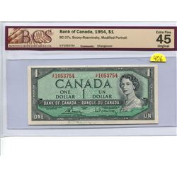 Canada 1 Dollar Bank of Canada 1954 $1 BC-37c Bouey Rasminsky Modified Portrait BCS 45 Extra Fine