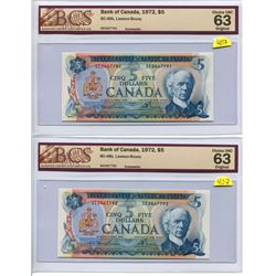 Lot of 2 Sequential Serial Canada 5 Dollar Bank of Canada $5 1972 BC-48b Lawson Bouey BCS 63 Choice