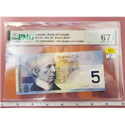 Canada 5 DOLLARS 2001 P 101 KNIGHT / DODGE SUPERB GEM UNC PMG 67 EPQ HIGH