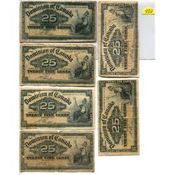 Lot of 6 Canada 25 cent 1900 Dominion of Canada 25c Shinplaster