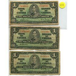 Lot of 3 Canada 1 Dollar 1937 Bank of Canada $1 Circulated
