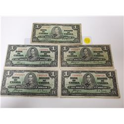 lot of 5 Canada 1 Dollar 1937 Bank of Canada $1 (4 Coyne-Towers, 1 Osbourne-Towers)