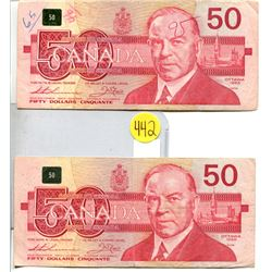 Lot of 2 Canada 50 Dollar 1988 Bank of Canada $50