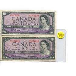 Lot of 2 Canada 10 Dollar 1954 Bank of Canada $10 Modified Portrait