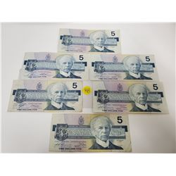 Lot of 6 Bank of Canada $5 Dollar bills