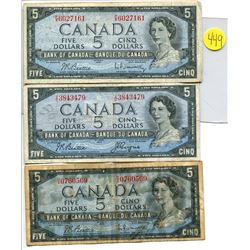 Lot of 3 Canada 5 Dollars including 1954 $5 BC-39b P/X 6027161,