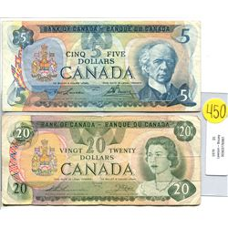 Canada 20 Dollar 1979 Bank of Canada $20 *holes* & Canada 5 Dollar 1979 Bank of Canada $5 Lawson Bou