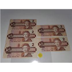 Lot of 5 Canada 2 Dollar 1986 Bank of Canada $2 Circulated