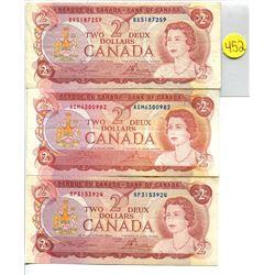 Lot of 3 Canada 2 Dollar 1974 Bank of Canada $2