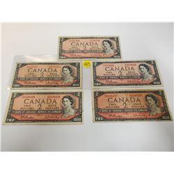Lot of 5 Canada 2 Dollar 1954 Bank of Canada $2 Circulated