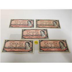 lot of 5 Canada 2 Dollar 1954 Bank of Canada $2 bills Circulated