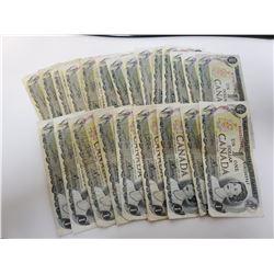 Lot of 25 Canada 1 Dollar 1973 Bank of Canada $1 Circulated