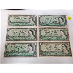 Lot of 6 Canada 1 Dollar 1954 Bank of Canada $1 bills