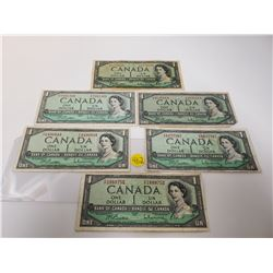 Lot of 6 Canada 1 Dollar 1954 Bank of Canada $1 Modified Portrait