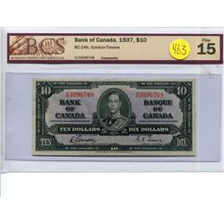 1937 $10 Ten Dollar BCS 15 BC-24b Gordon, Towers