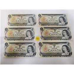 Lot of 6 Canada $1 One dollar bills, 1973 Bank of Canada