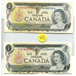 2 1973 Bank of Canada $1 One dollar bills