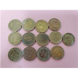 Lot of 13 British West Africa One Shilling 1952 Circulated