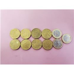 Lot of 11 Euro coins total 7 euro face value