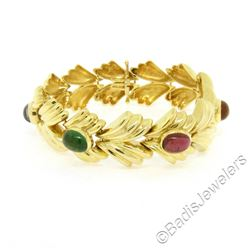 14kt Yellow Gold 6.81 ctw Multi Gemstone Ribbed Wide Leaf Chain Bracelet
