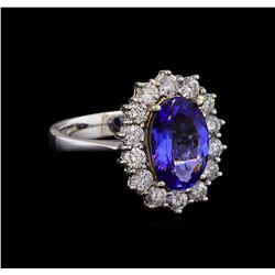 14KT Two-Tone Gold 2.38 ctw Tanzanite and Diamond Ring