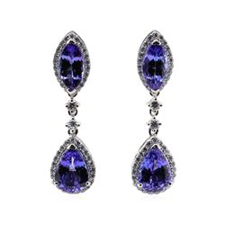 8.51 ctw Tanzanite and Diamond Earrings - Platinum