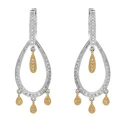 14k Two Tone Gold 0.50 ctw Diamond Earrings, (I1-I2/H)