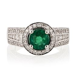 0.95 ctw Emerald and 1.13 ctw Diamond 14K White Gold Ring