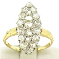 Platinum & 14k Yellow Gold Old Rose Cut Diamond Marquise Ring