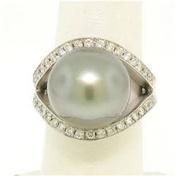 14k White Gold Large 14.5mm Tahitian Pearl Solitaire Ring w/ 2.00 ctw Pave Diamo