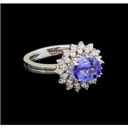 14KT White Gold 1.79 ctw Tanzanite and Diamond Ring