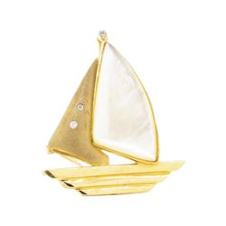 0.06 ctw Diamond and Mother of Pearl Boat Enhancer/Pin - 14KT Yellow Gold