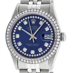 Rolex Mens Stainless Steel Blue String Sapphire Diamond 36MM Datejust Wristwatch