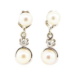0.10 ctw Diamond and Pearl Earrings - 14KT White Gold
